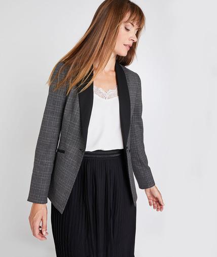 Veste de tailleur à carreaux femme GRIS