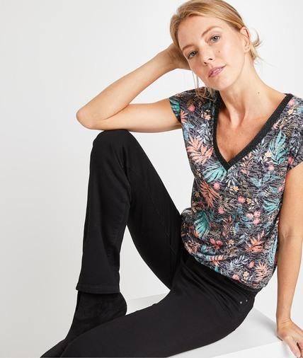 T-shirt manches courtes imprimé femme NOIR