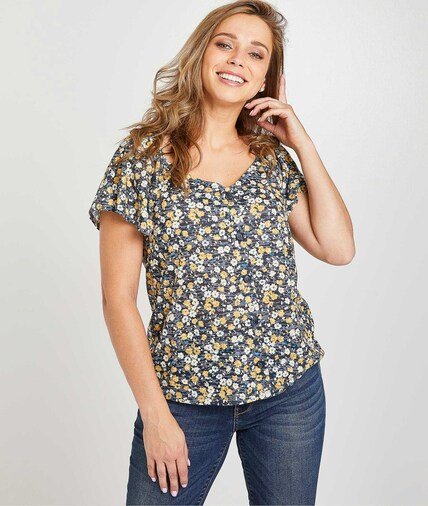 T-shirt imprimé fleuri femme MARINE