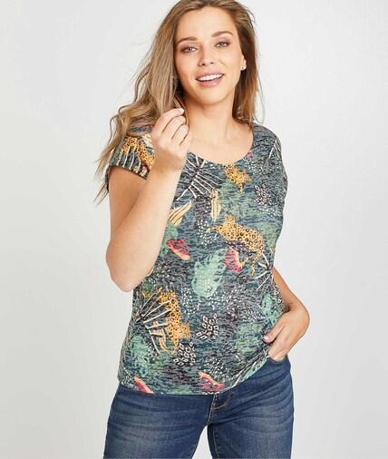 T-shirt imprimé tropical femme KAKI