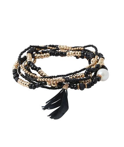 Bracelet multi rangs femme NOIR