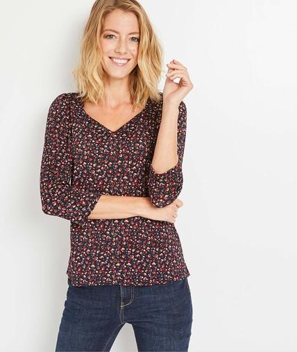 T-shirt fleuri femme NOIR