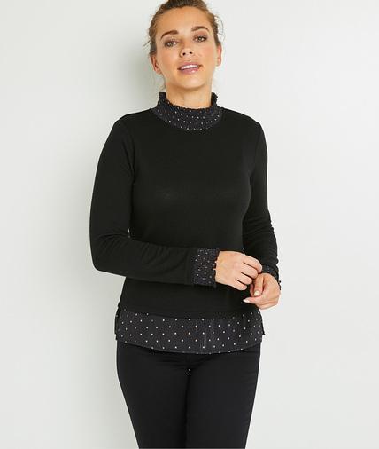 T-shirt noir fantaisie femme NOIR