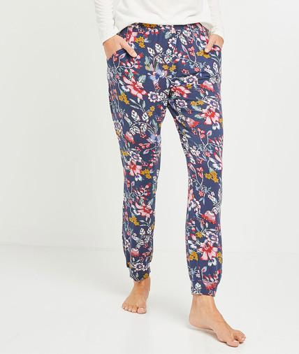 Pantalon pyjama fleuri femme GRIS