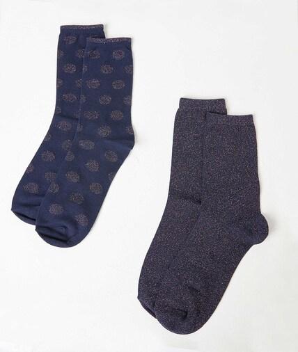 Duo de chaussettes fantaisie femme MARINE