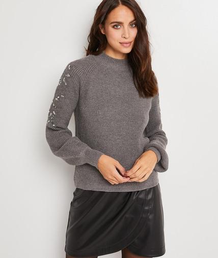 Pull gris bijoux femme GRIS