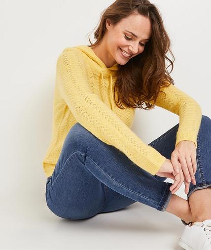 Pull à capuche jaune femme JAUNE