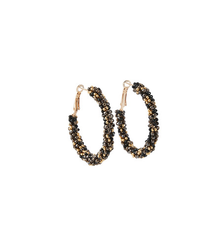 Créoles perles de rocaille MARRON