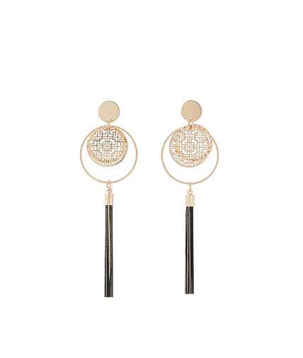 Boucles d'oreilles anneaux et pompon NOIR