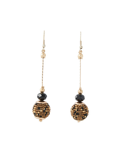 Boucles d'oreilles pendantes perles MARRON