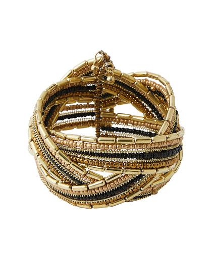 Bracelet manchette à perles femme NOIR