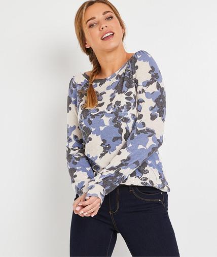 T-shirt imprimé fleurs femme BEIGE