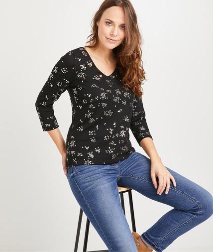 T-shirt noir imprimé femme NOIR
