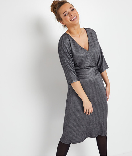 Robe kimono grise femme GRIS