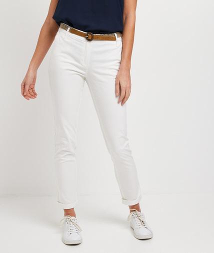 Pantalon chino uni femme BLANC