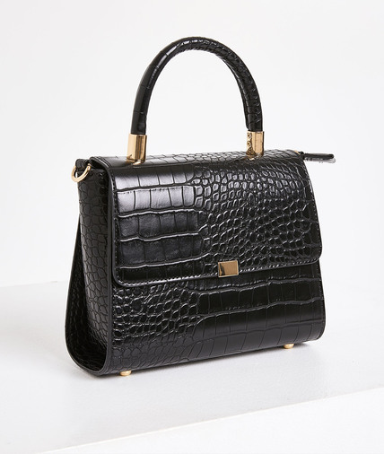 Mini sac effet croco noir femme NOIR