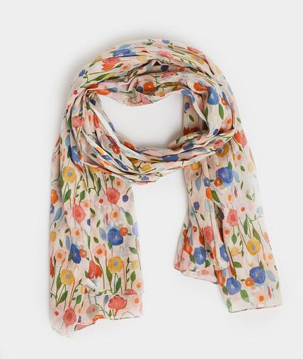 Foulard en coton fleuri femme ROSE