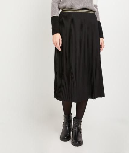 Jupe plissée noire femme NOIR