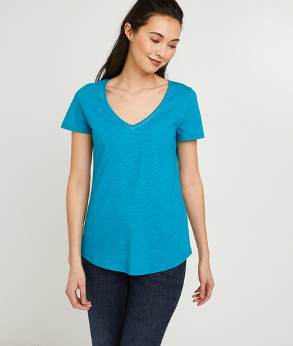 T-shirt basique en coton uni femme TURQUOISE