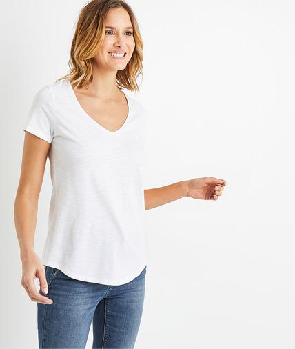 T-shirt basique en coton uni femme BLANC