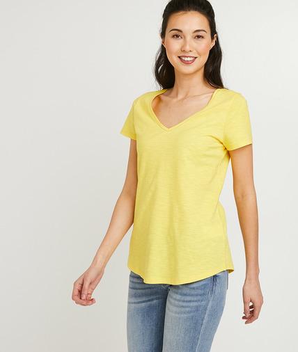 T-shirt basique en coton uni femme JAUNE