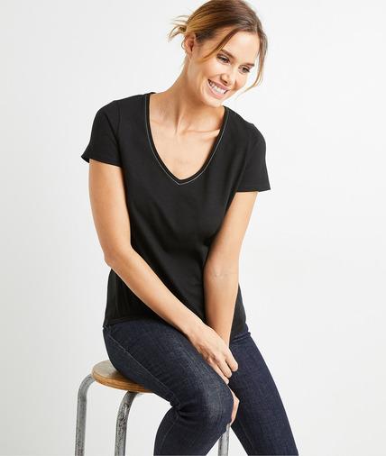 T-shirt basique en coton uni femme NOIR