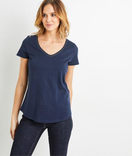 T-shirt basique en coton uni femme MARINE