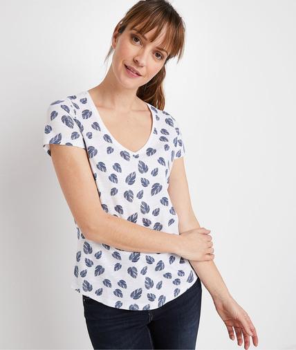 T-shirt basique imprimé femme BLANC