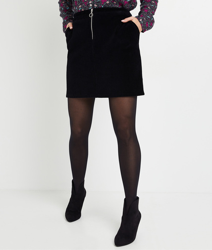 Jupe en velours stretch noire femme NOIR
