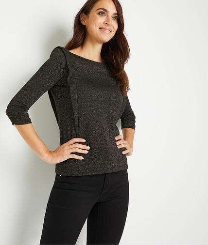 T-shirt noir brillant femme NOIR