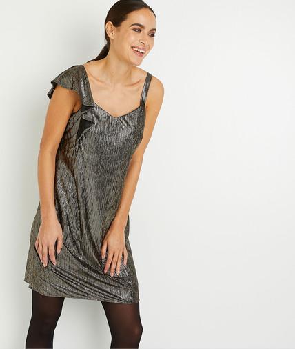 Robe asymétrique métallisée femme NOIR
