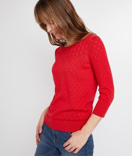 Pull rouge ajouré femme ROUGE