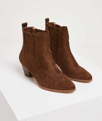 Bottines marron effet daim femme MARRON