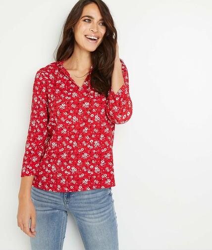T-shirt en maille froissé imprimé femme ROUGE