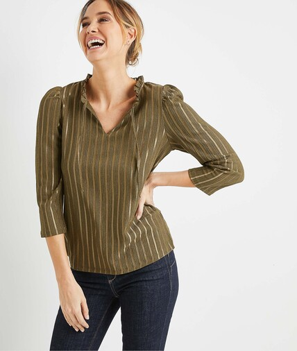 T-shirt kaki rayé femme KAKI