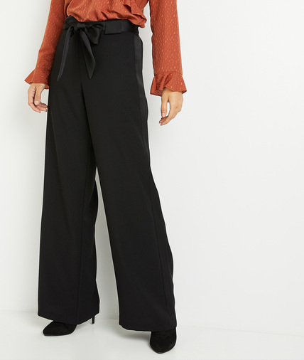 Pantalon noir large et fuide femme NOIR