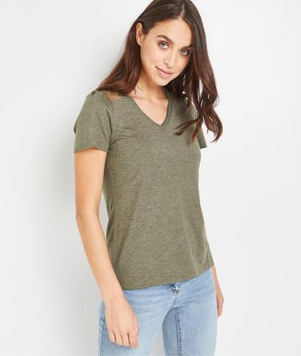 T-shirt uni et plumetis femme KAKI