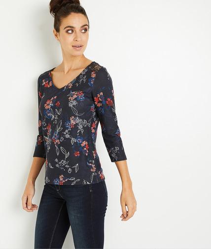 T-shirt manches 3/4 fleuri femme MARINE