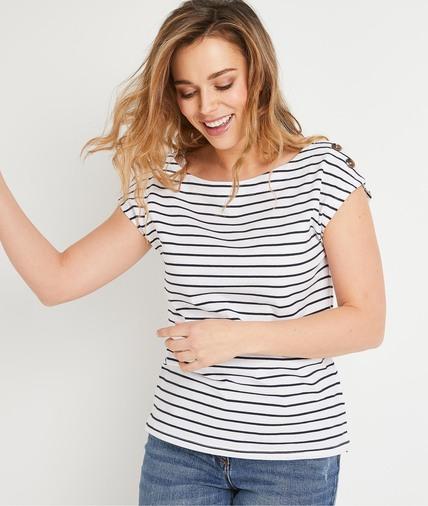 T-shirt esprit marinière femme BLANC