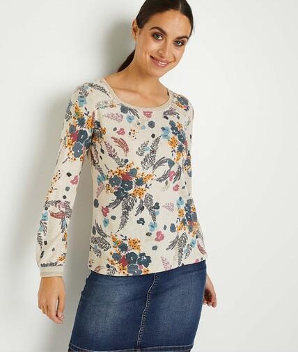 T-shirt imprimé fleuri femme BEIGE