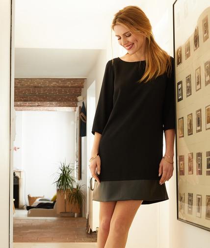 Robe noire bi-matières femme NOIR