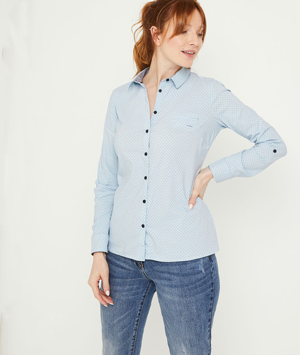 Chemise structurée bleue femme BLEU