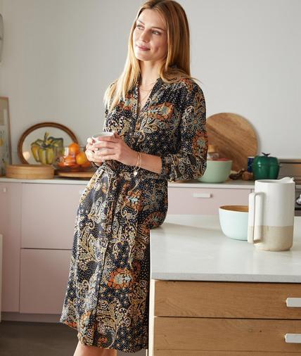 Longue robe chemise imprimée femme NOIR