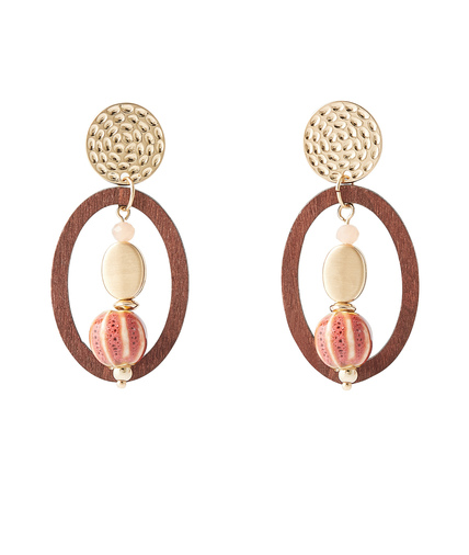 Boucles d'oreilles pendantes bois VERT