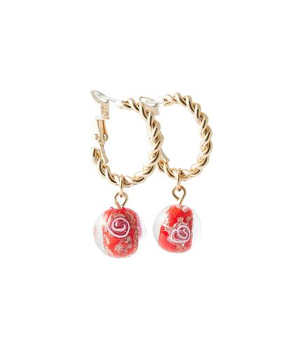 Mini créoles perles de verre Murano ROUGE