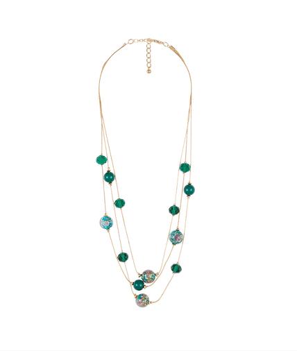 Collier trois rangs avec perles de verre VERT