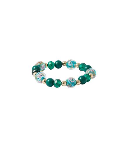Bracelet élastique perles de verre VERT