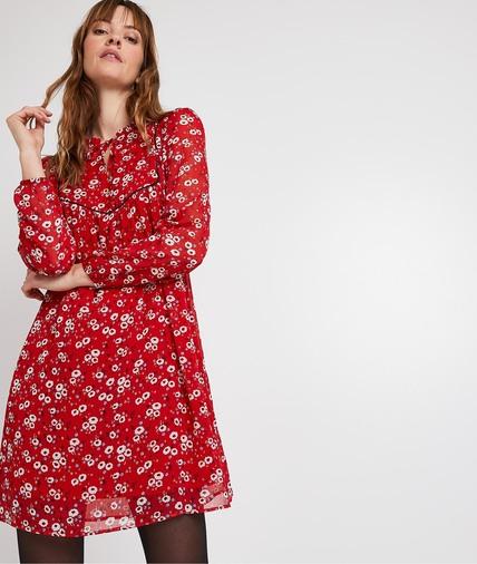 Robe rouge en voile imprimé femme ROUGE