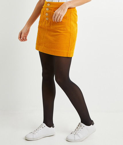 Jupe courte en velours jaune femme JAUNE