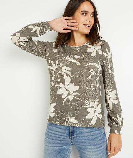 T-shirt fleuri kaki femme KAKI